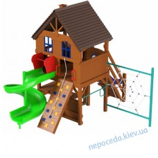 Детская площадка из дерева + винтовой спуск горки Спайдер Вилла