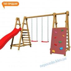 """Детская горка """"Забава-3"""" с дополнением деревянная"""