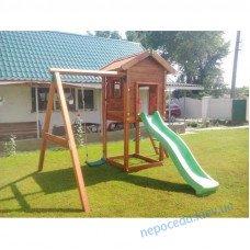 """Деревянный игровой комплекс """"Отто"""" с деревянным домиком на дачу"""