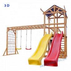 """Дитячий майданчик 3D """"Вісім в одному"""" з 2 гірками"""