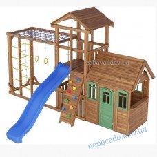 Игровой комплекс из дерева + домик уличный Забава 1