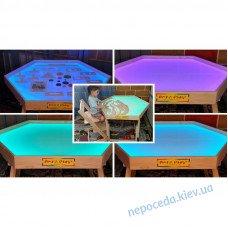 Шестиугольный световой стол-трансформер Art&Play ясень