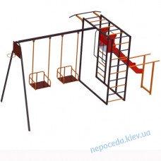 """Детский спортивно игровой комплекс для улицы """"Титан"""" + горка + качели (Cерый)"""