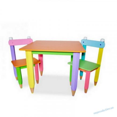 """Детский комплект """"Карандашики"""" столик 60*40 с пеналом и 2 стульчика"""