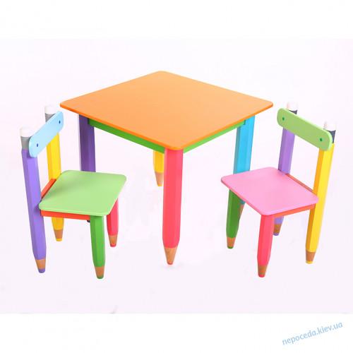 """""""Карандаши"""" столик 60*60 с пеналом и 2 стульчика"""