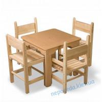 Детские столик и 1 стульчик регулируемый по высоте (бук)