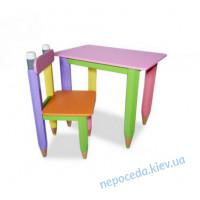 """Комплект """"Карандаши"""" столик 60*40 с пеналом и стульчиком"""