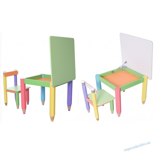 """Комплект """"Карандаши"""" столик 60*60 с пеналом и стульчиком"""