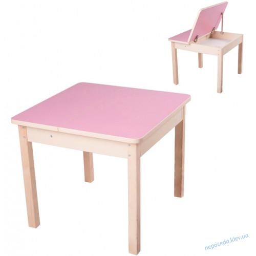 Детский столик трансформер с откидной крышкой (розовый)