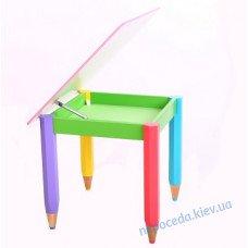Детский столик с пеналом 60см на 60см Карандаши