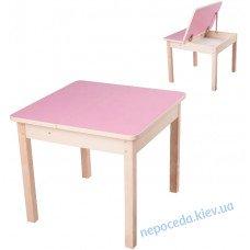 Дитячий столик трансформер з відкидною кришкою (рожевий)