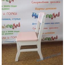 """Дитячий стілець """"Соля"""" дерев'яний (рожевий + білий)"""