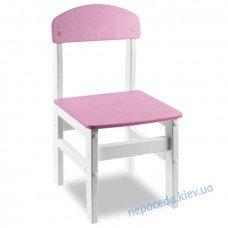 """Дитячий стільчик """"Woody"""" білий з рожевою сидушкой"""