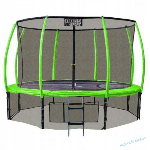 Батут 430 см Premium maxi comfort TimaSport (зелёный, чёрный, оранжевый)