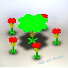 Столик с табуретками уличный Цветок клевера