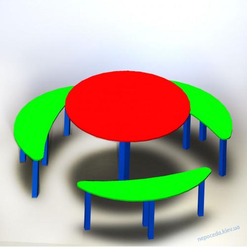 Столик и лавками на детскую площадку круглый