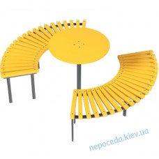 Скамейка парковая дугой со столом Солнце
