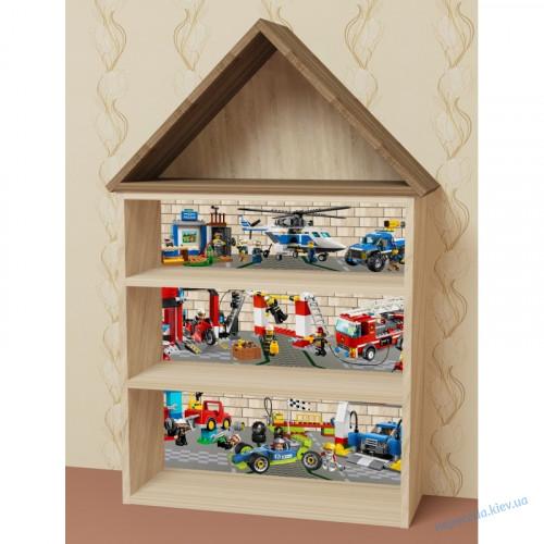 Стеллаж домик (полка для игрушек и книг)
