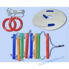 Веревочный набор с пластиковыми кольцами- цветной