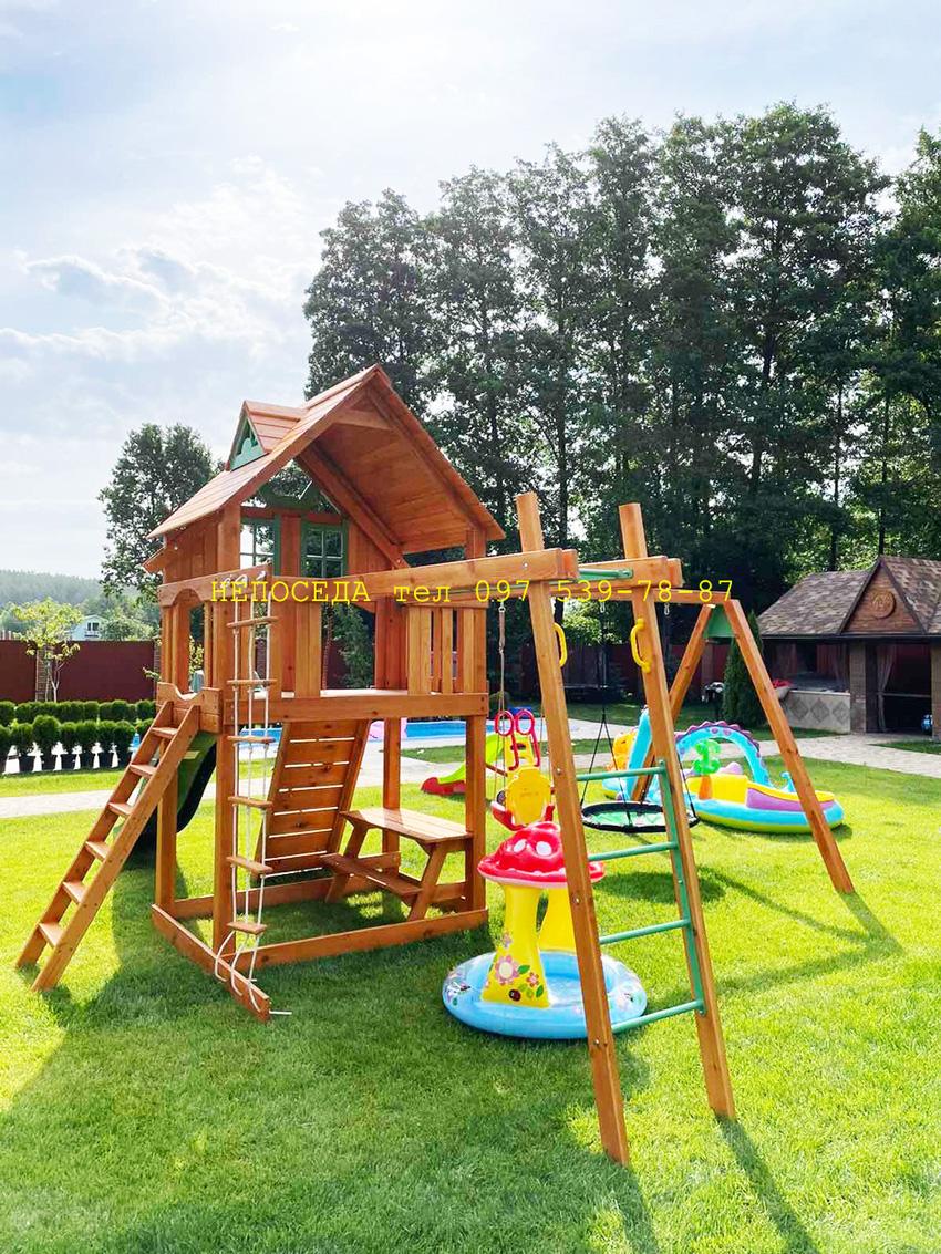 Детские площадки на дачу с домиком качелями и спортивной лесенкой