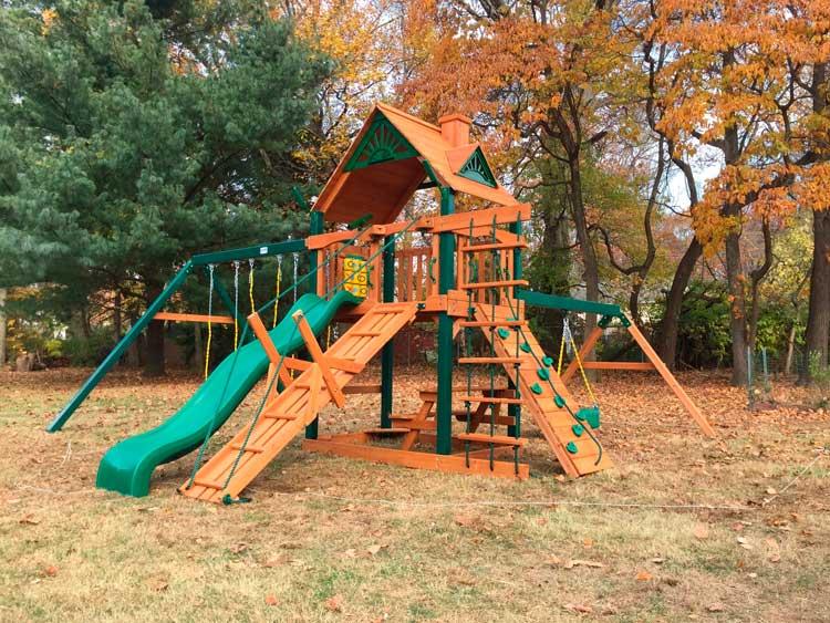 игровая детская площадка с качелями и горкой люкс15