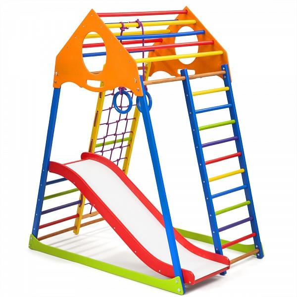 Детский спортивный комплекс KindWood Color Plus 1 горка кольца в интернет магазине Непоседа