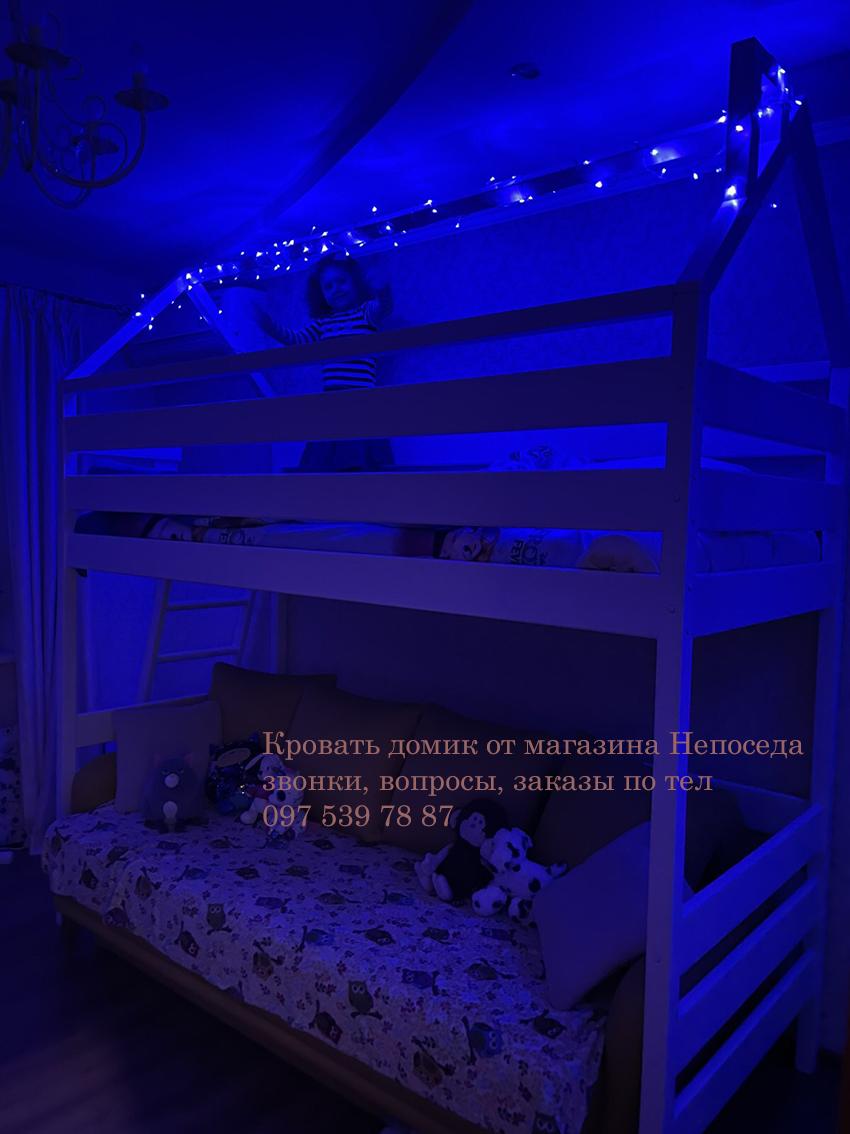 кровать в виде домика с диваном внизу для девочки подростка
