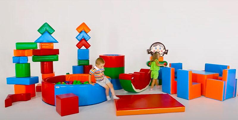 Сухой бассейн с шариками и мягкие модули и конструктор из поролона большой для садика